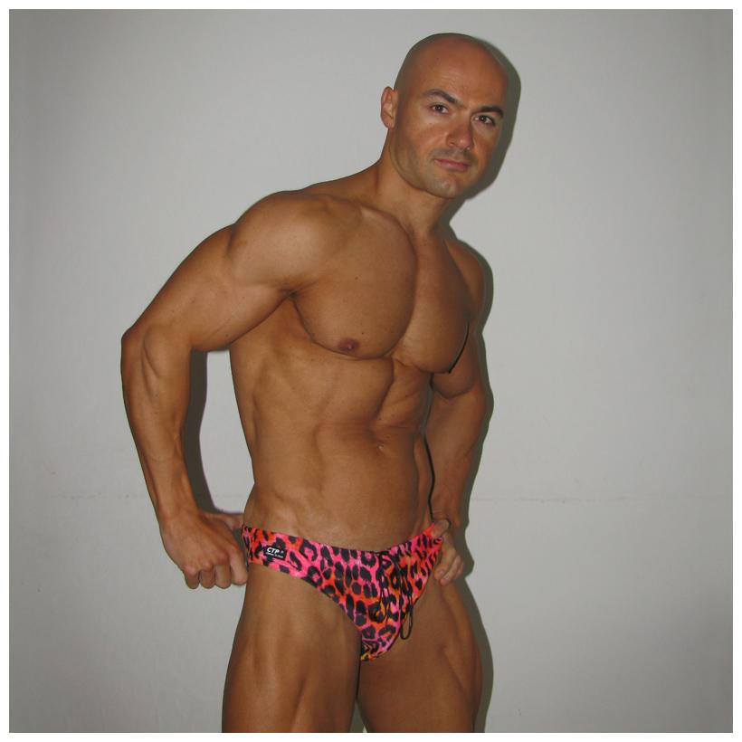 Mens Swim Briefs - Pink Leopard - Swimming briefs for men